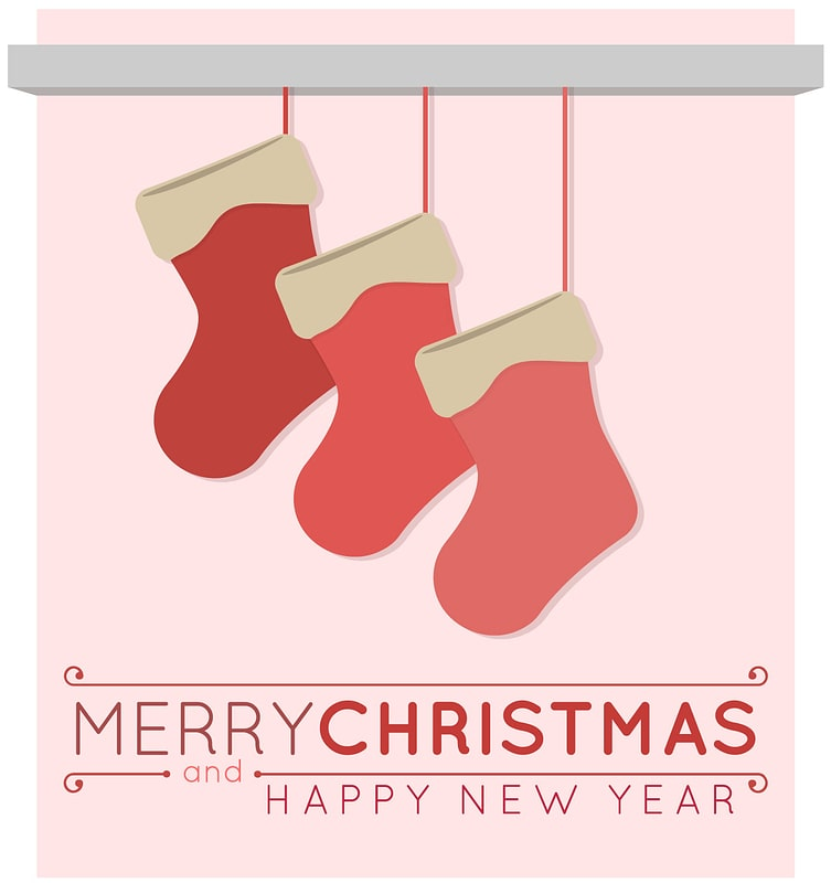 Merry Christmas and Happy New Year with Stockings Greeting Card vector