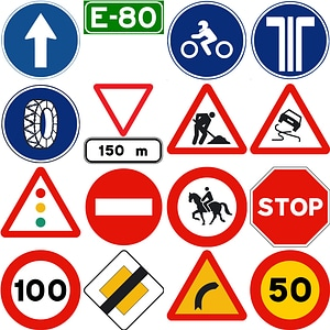 185 Road Signs of Spain vector