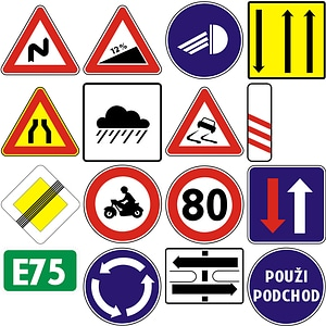 204 Road Signs of Slovakia vector