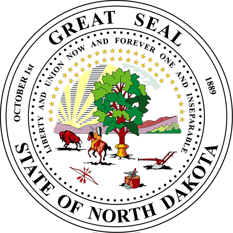 Great Seal of the State of North Dakota Label vector