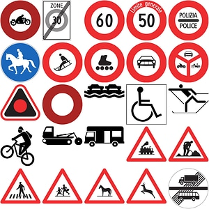 218 Road Signs of Switzerland vector
