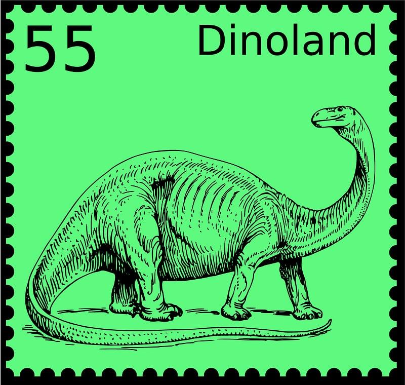 Dinosaur Stamp Dinoland with Number 55 vector