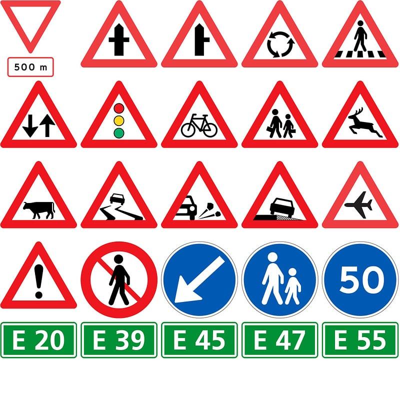 Road Signs in Denmark vector
