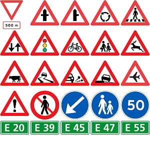 Road Signs in Denmark vector