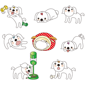 Set of Puppy Characters vector