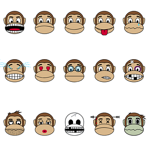 Set of Monkeys with Different Emotions vector