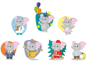 Set of Elephant Characters vector