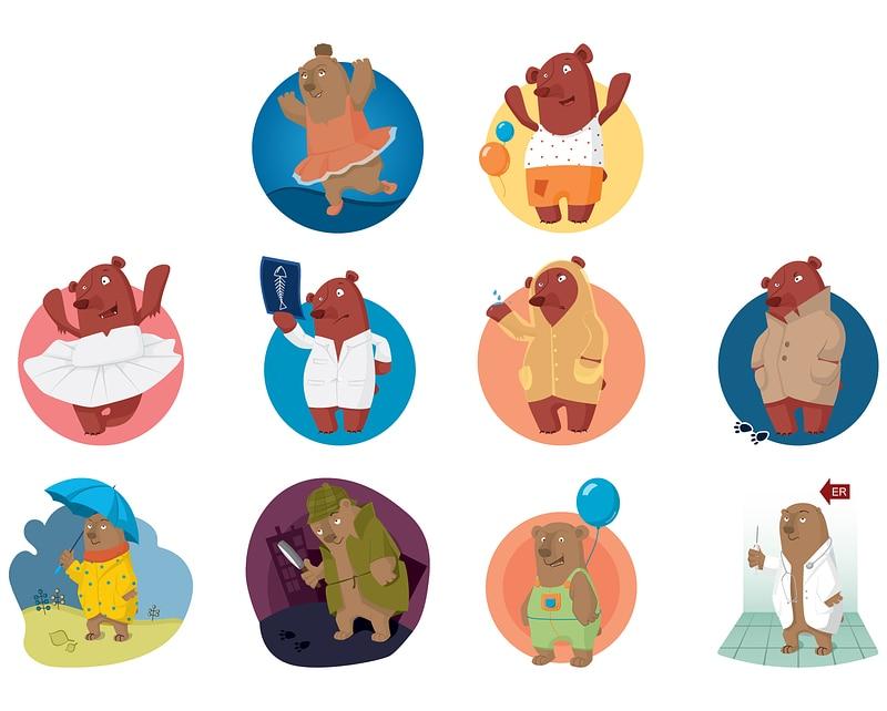 Set of Bear Characters vector