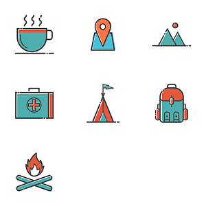 Set of Camp Icons vector