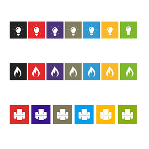 Set of Fire Flame, Idea Bulb and Printer Icons vector