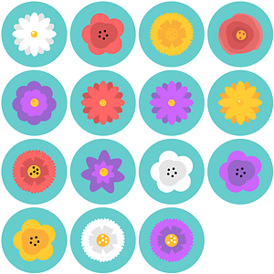 Set of Blossom Flowers Icons vector