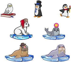 Set of Cute Arctic Animals vector