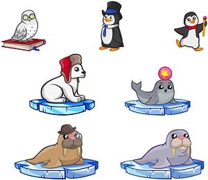 Set of Cute Arctic Animals vector