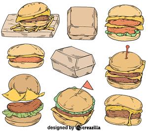 Set of cheeseburger vector