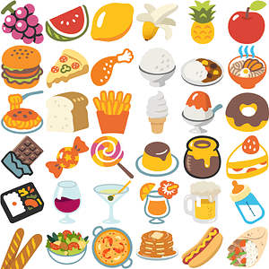 + 170 s of Food and Drinks Emoji vector