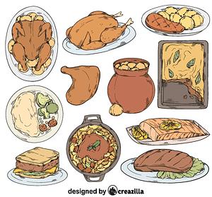 Set of dinner vector