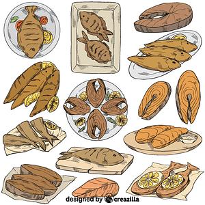 Set of fish fry vector