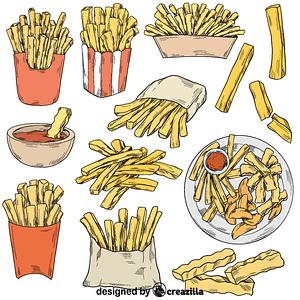 Set of fries vector