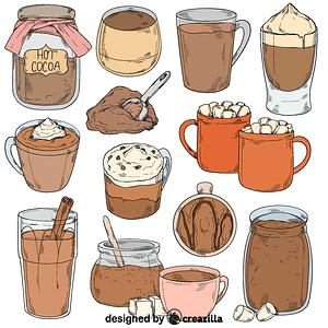 Set of hot cocoa vector