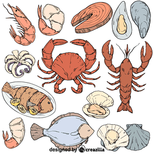 Set of seafood vector