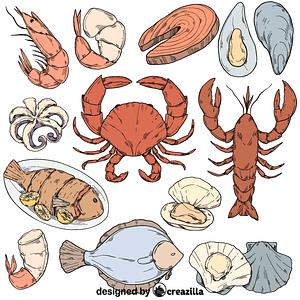 Vector de Set of seafood