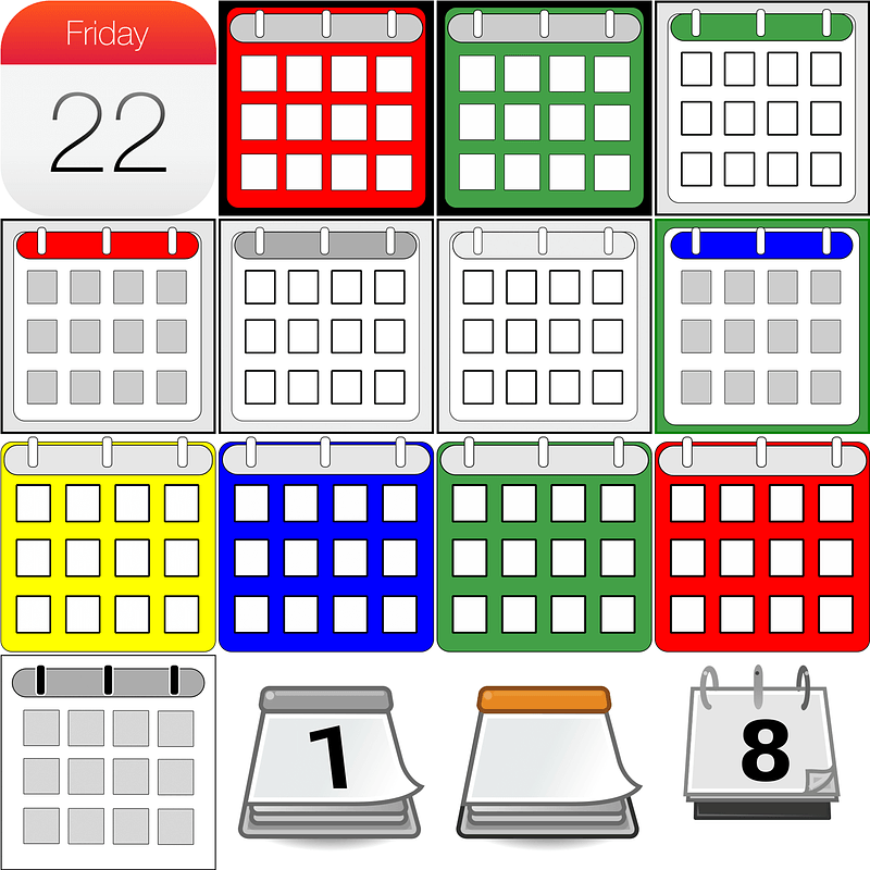 Set of Calendars Icons vector