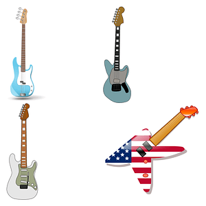 Guitars icons vector