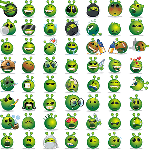 Green Alien Smilies Icons vector