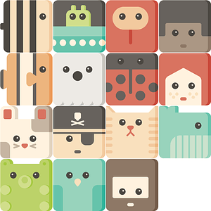 Set of Cute Cubies Icons vector