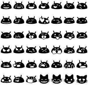 48 Android Emoji Smilies vector