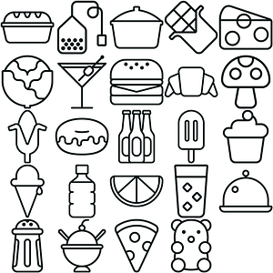 Lineart Food Icons vector