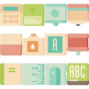 School Cubies Icons vector