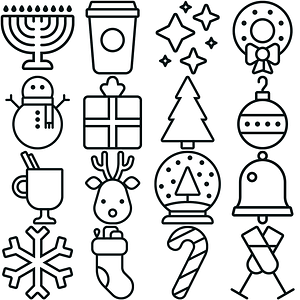 Winter Holidays Icons vector