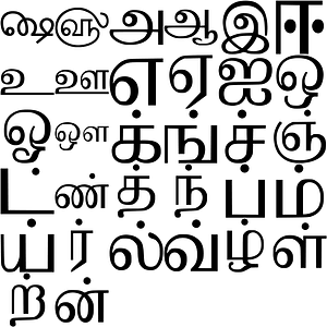 Alphabet in Tamil vector