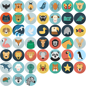 Cartoon Animals Icons vector