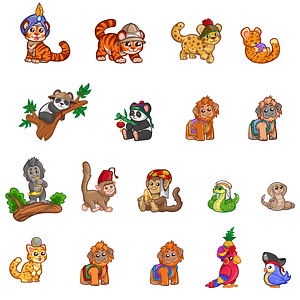 Set of Cute Jungle Animals vector