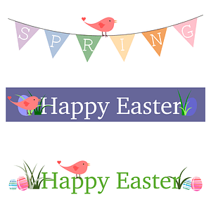 Set of Easter Banners with Bunting Flags, Eggs and a Bird vector