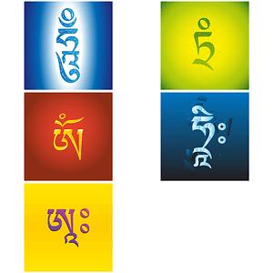 Tibetische Buchstabensilben vektor