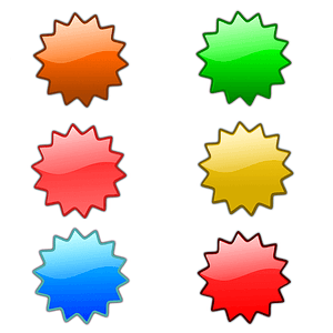 Set of Orange, Red, Green and Yellow Labels vector