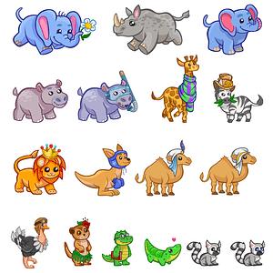 Set of Cute Safari Animals vector