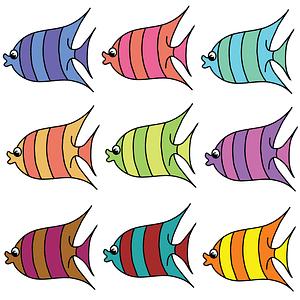 Set of Cartoon Fish vector