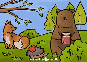 Autumn bear and fox vector