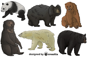 Set of Bears vector