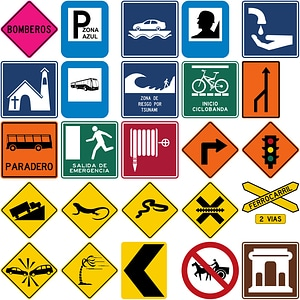 372 Road Signs of Colombia vector