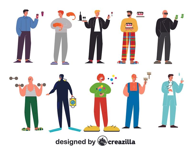 Men characters constructor vector