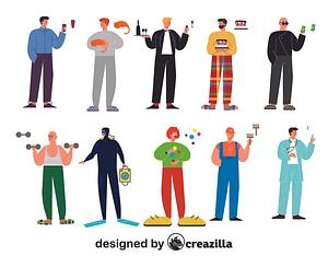 Immagine vettoriale di Men characters constructor