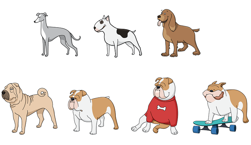 Set 3 of Cute Dogs vector