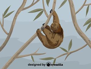 Immagine vettoriale di Maned sloth