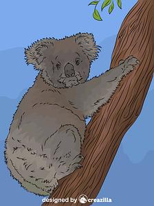 Koala climbing tree vector