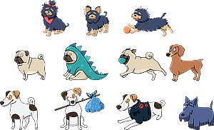 Set 2 of Cute Dogs vector